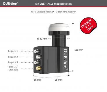 DUR-line UK 104 LNB 4 Teilnehmer SCR/Einkabel/Unicable + 3 Teilnehmer Legacy